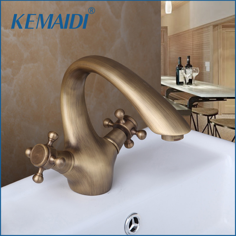 KEMAIDI New Arrival Double Handle Control Antique Brass  Banheiro Bathroom Sink Torneira Tap Mixer Basin Faucet Deck MountedKEMAIDI New Arrival Double Handle Control Antique Brass  Banheiro Bathroom Sink Torneira Tap Mixer Basin Faucet Deck Mounted