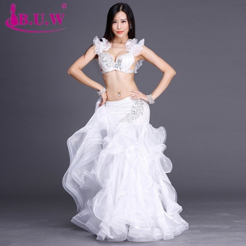 B.u.w Special Offer Brand 2018 New High Grade Women Belly Dance Costumes Performance Bra+skirt Suits For Oriental Costume By005