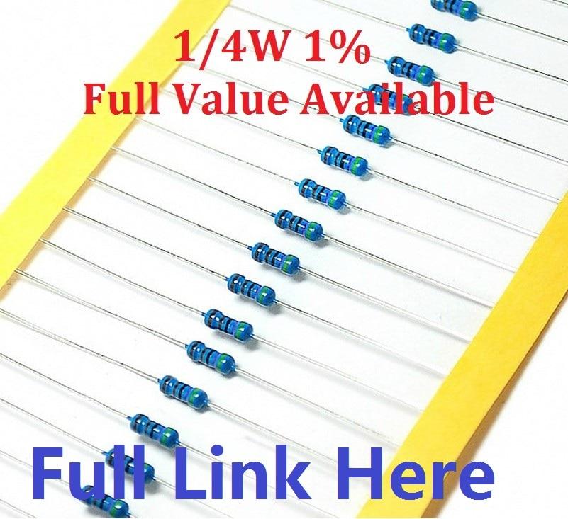 Free Shipping 100pcs/lot 0.25W Metal Film Resistor +-1% 10K Ohm 10K 4.7k 2.2K 1K 100K 470K 360R 560R 820R 910R  1/4W 0R--10M