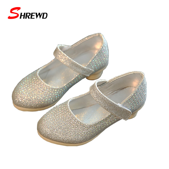 Insole 16.2-19cm Kids Shoes For Girl 2016 Autumn New Fashion Rhinestone Kids Leather Shoes Casual Solid Cute Girls Shoes 9213W