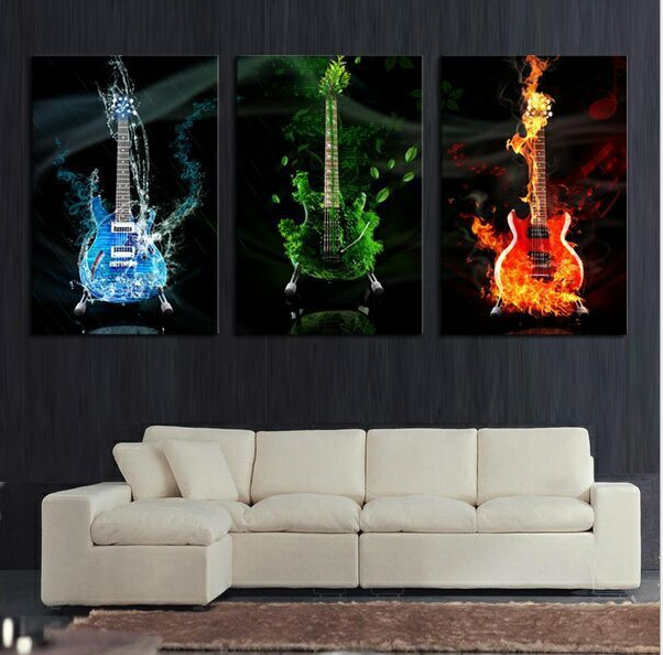 3 Panel Unframed Large Printed Music Guitar CanvasOil Painting Picture Cuadros Decoracion Canvas Wall Art For Living Room