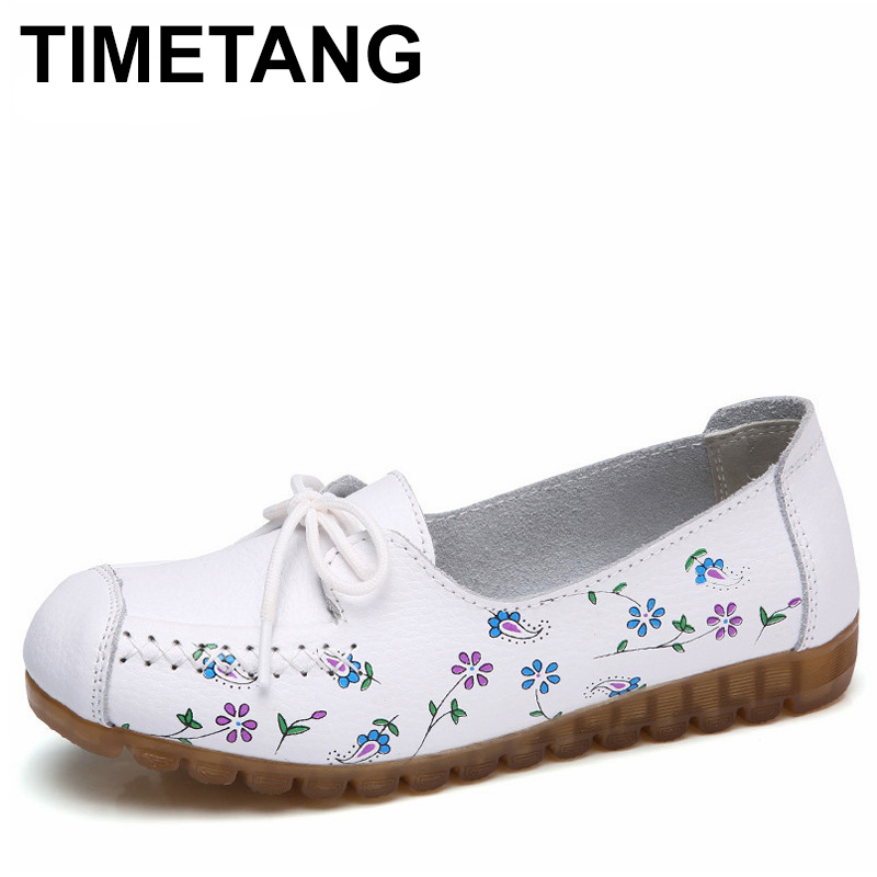 TIMETANG 2018 Printing Flower Spring Shoes Woman Lace-Up Women Flats Genuine Cow   Leather   Female Loafers Moccasins Ladies Shoes