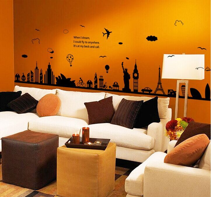 Fashion Eiffel Tower Sydney Greek City Building Set DIY Wall Stickers  Living Room Background Decor Mural Decal Wallpaper AY9214 On Aliexpress.com  | Alibaba ...