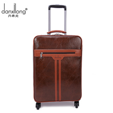 DANXILONG 2016 Man High Quality Trolley Luggage Bags Men Business Boarding Suitcase Women PU Leather Travel Wheels Bag Brown Hot