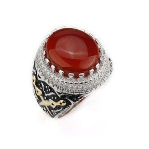 Image 4 - Мужское кольцо, Настоящее серебро 925 пробы, красный камень с двойным мечом, чистое CZ Кольцо на палец для мужчин, модные ювелирные изделия