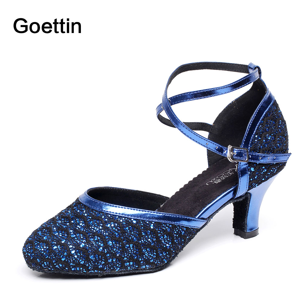 2017 Goettin Brand Glitter Latin Dance Shoes Kvinder Ballroom Dancing Shoes 7058