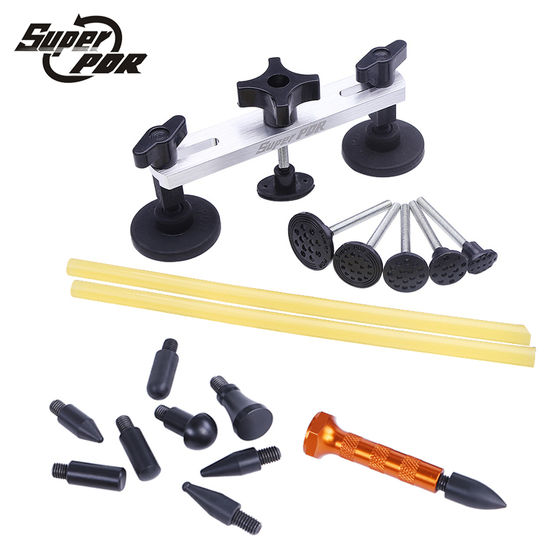Super PDR Paintless Dent Repair Tools kit Pulling bridge glue sticks tool set with 9 head tap down pen Dent Removal hand tools