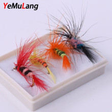 YeMuLang 8pcs Hard Lure Small moth Insect  Fly Fishing Lure Box Set Wet Dry  Fly Tying Material Bait  For Fishing Tackle