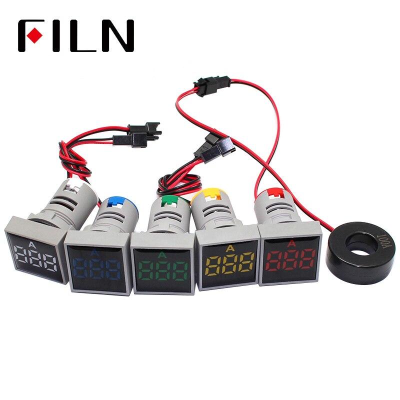 AC 220V 22mm Digital Ammeter 0-100A Current Monitor Meter Signal Lamp Amperemeter