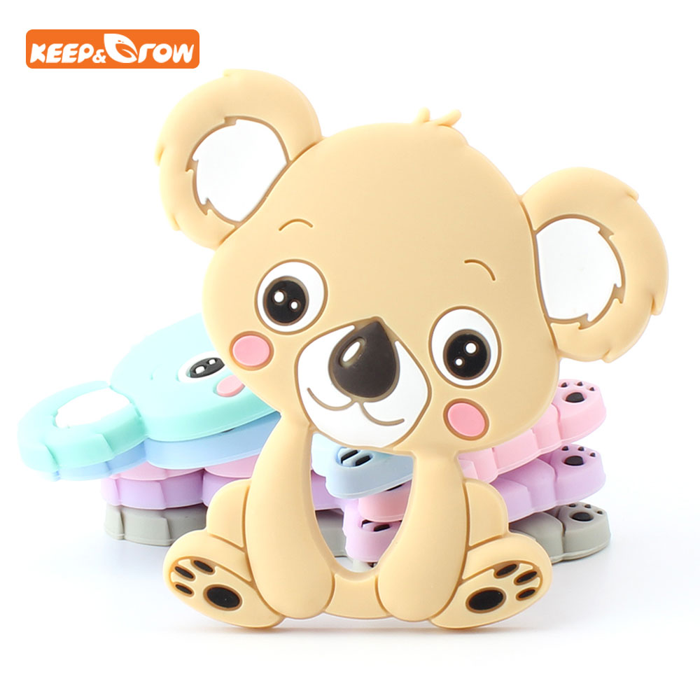 Keep&grow 8Colors Silicone Teethers Animal Koala Teether Food Grade Silicone Chew Charms Baby Teething Yoys Koraliki Silikonowe