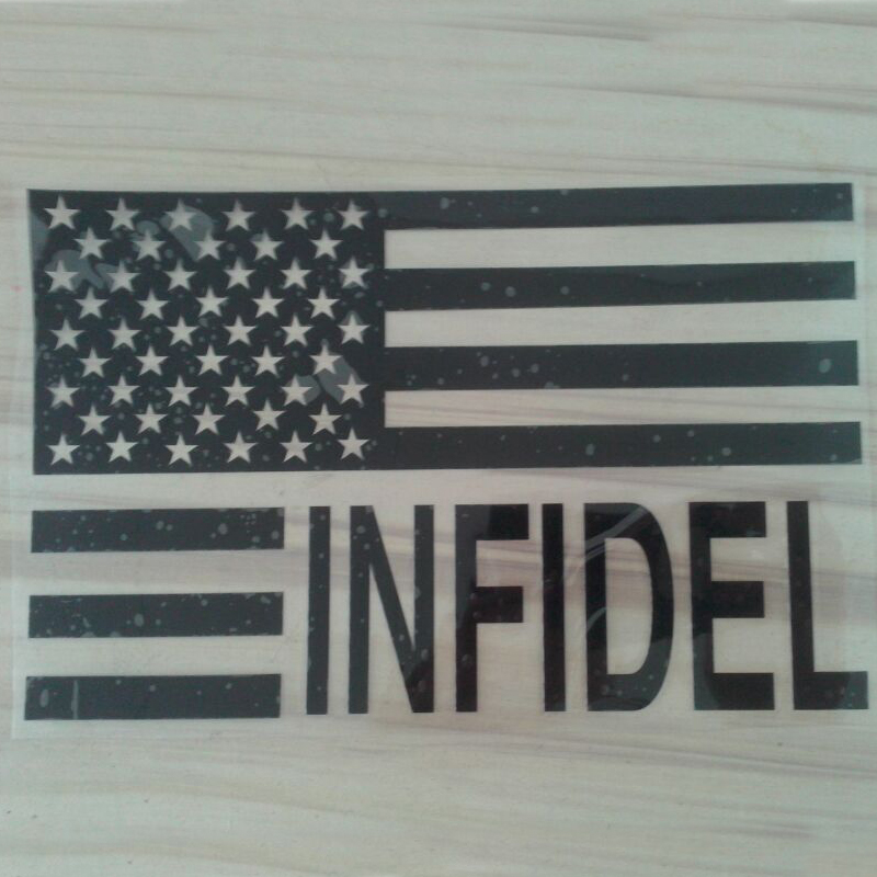 (50 pieces /lot) Wholesale INFIDEL vinyl American flag decorate car body window stickers decals Car styling