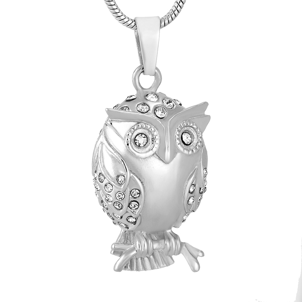 CMJ9740 Night Owl design Polished Stainless Steel Keepskae urn Necklace cremation pendant for ashes ...