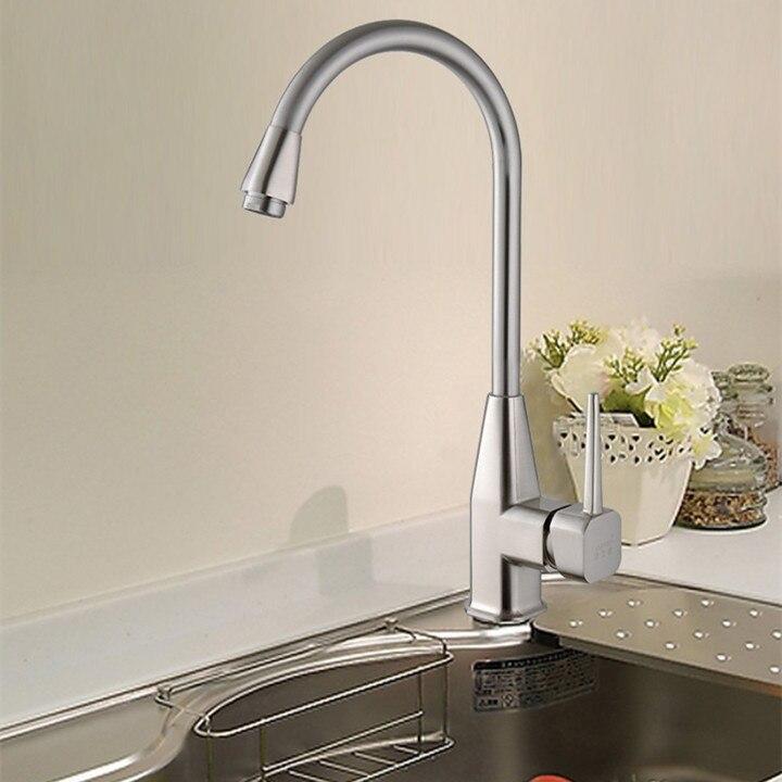 Metal brushed Kitchen Sink Faucet with Plumbing Hose Kitchen Mixer Tap FREE SHIPPING
