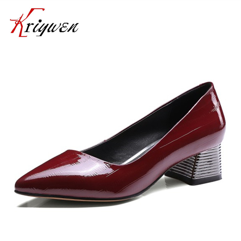 2017 Spring Women genuine leather shoes Fashion  med High Heel Summer Women Pumps pointed toe Shoes Woman Office plus size 33-43 new 2017 spring summer women shoes pointed toe high quality brand fashion womens flats ladies plus size 41 sweet flock t179