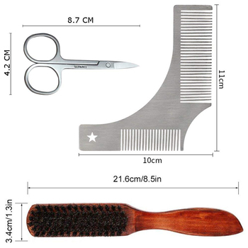 Beard Massage Grooming Set with Bag-Metal Modeling Comb Wild Boar Bristle Brush Stainless Steel Scissor Beard Timming Kit 4