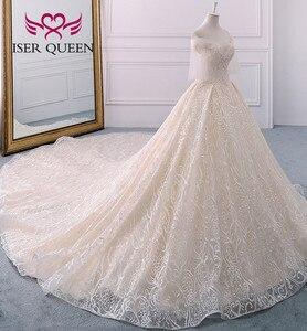 Image 2 - Di alta qualità di Lusso Dubai Abito Da Sposa 2020 Abito di Sfera Treno Lungo Del Manicotto Del Chiarore Perle Ricamo Abito Da Sposa Vestito Da Sposa WX0121