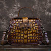 Genuine Leather Women Small Tote Purse Top Handle Bag Cross Body Crocodile Pattern Handbag Female Retro Messenger Shoulder Bags