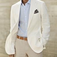 Цвета слоновой кости льняной костюм Индивидуальный заказ Для мужчин белый льняной пиджак и брюки Для мужчин s костюмы белье для Свадебные с