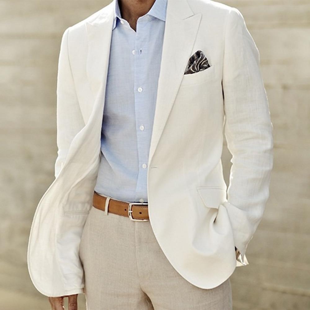 Traje De Lino Marfil Hecho A Medida Para Hombre Chaqueta Y Pantalones De Lino Blanco Trajes De Lino Para Hombre Esmoquin De Boda Para Hombre Traje De Novio A Medida Tuxedo Wedding Suit Suit