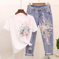 Высококачественная Женская 3D Цветочная хлопковая вышивка блестками, футболки, джинсовые комплекты + повседневные джинсовые костюмы с дырк...