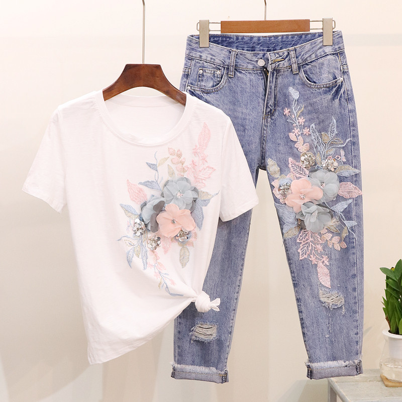 High Quality Women 3D Floral Cotton Embroidery Sequined T-shirts Jeans Sets + Casual Holes Denim Tassel Ankle-Length Pants Suits