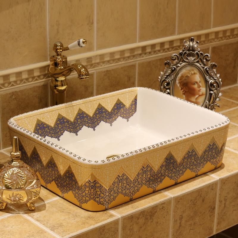 porcelana bao de cermica sobre encimera lavabo rectangular wash cuenca popular en europa pintura de arte