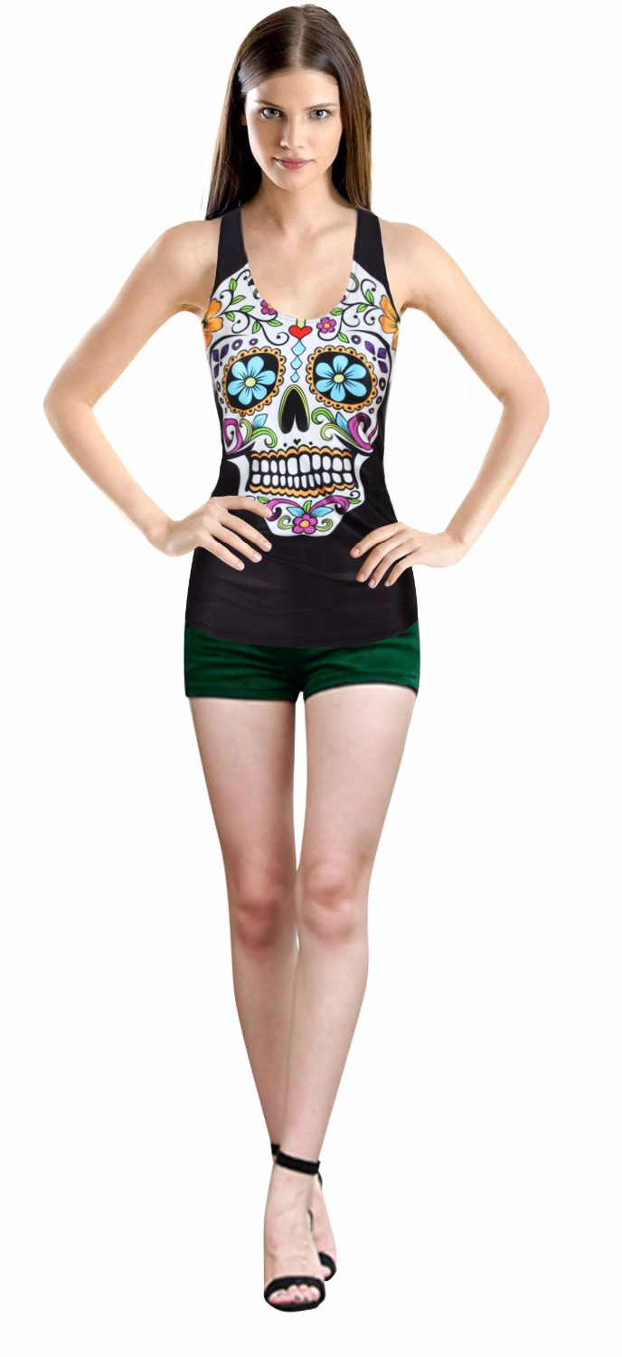 2017 Summer Skull Skeleton 3d Printed Tops Sleeveless Workout Tank Top Women Sexy Top Fitness Feminino Harajukku Vest Punk