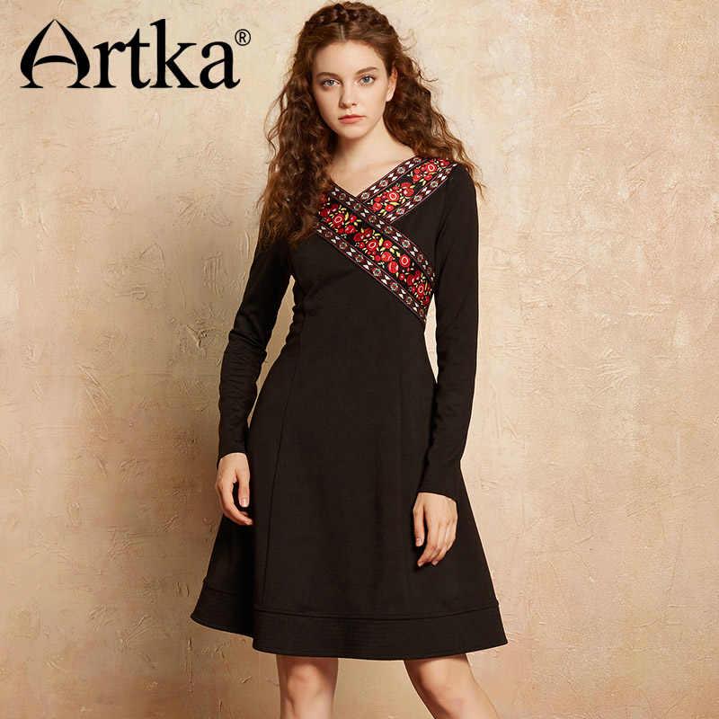 ARTKA בציר נשים של שמלת 2018 סתיו ארוך שרוול שמלת נשים הדפסת שחור שמלת נקבה מוסר אלגנטי שמלה עבור בנות LA10475Q