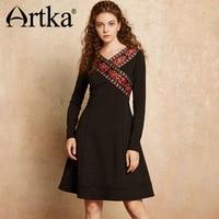 ARTKA Vintage Women's Dress 2018 Autumn Long Sleeve Dress Women Print Black Dress Female Ethic Elegant Dress For Girls LA10475Q