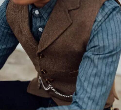 Men's Suit Vest Boutique Wool Tweed Slim Fit Leisure Cotton Male Gentleman Beckham Business Waistcoat For Wedding Groomsmen 3