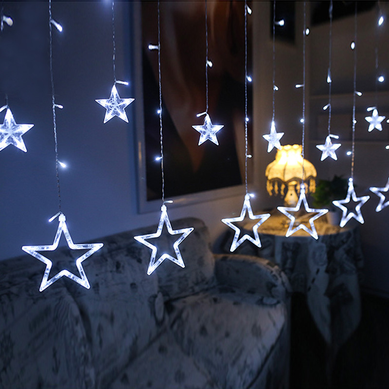 Star Lamp Christmas Leds Curtain LED String 220V Fairy Light For New Year Lampjes Slinger Indoor  Holidays EU Plug