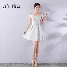 Its Yiiya Evening dress white balck blue Backless A-line Party gowns Spring Elegant Zipper back short sleeve Prom dresses C146