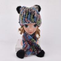 Winter Fur Hats for Girls Real Fur Rex Rabbit Trapper Hat with balls Kids pompom knitted hat hand knitted beanies Ring scarf