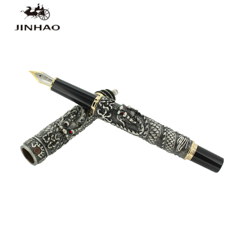 Jinhao Ancient Grey Two Dragon Playing Pearl 18KGP Nib Fountain Pen Temple of Heave