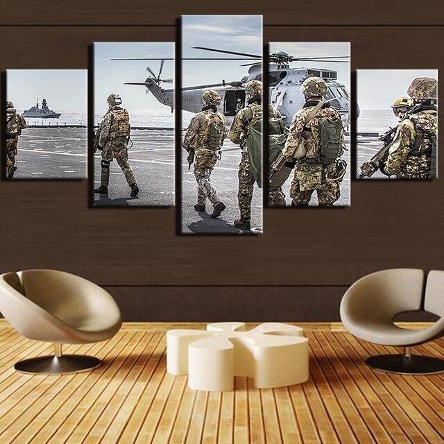 US $16.2 |Home Decor Stampato Pittura Su Tela Con Cornice Decorazione Della  Parete Della Stanza Soldiery Elicottero Poster 5 Pannello Soldati Quadri ...