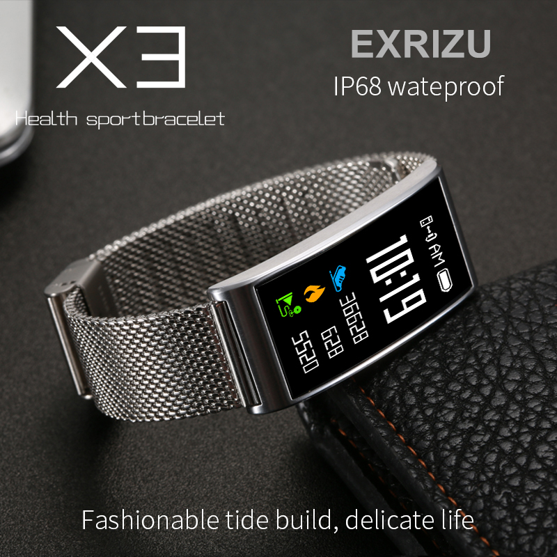EXRIZU X3 Color Display IP68 Waterproof Bluetooth Smart Wristband Heart Rate & Blood Pressure Monitor Wrist Band for iPhone 8 X