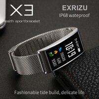 EXRIZU X3 Visor a Cores IP68 À Prova D' Água Do Bluetooth Inteligente Pulseira Coração taxa & Monitor de Pressão Arterial Inteligente Banda para iPhone 8 X