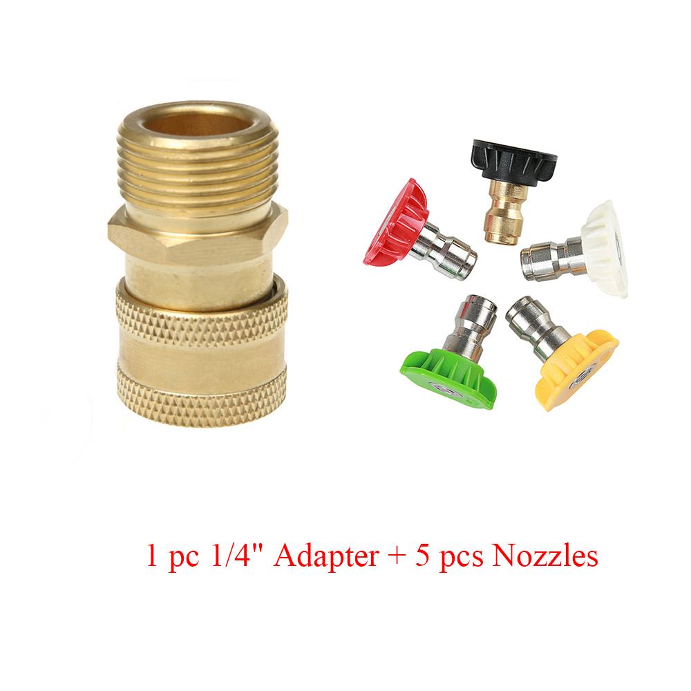 "High Pressure Washer Brass Connector Adapter M22 Male 1/4"" female Car Washer Quick Connection Adapter with 5 Car Washing Nozzles-in Water Gun & Snow Foam Lance from Automobiles & Motorcycles"