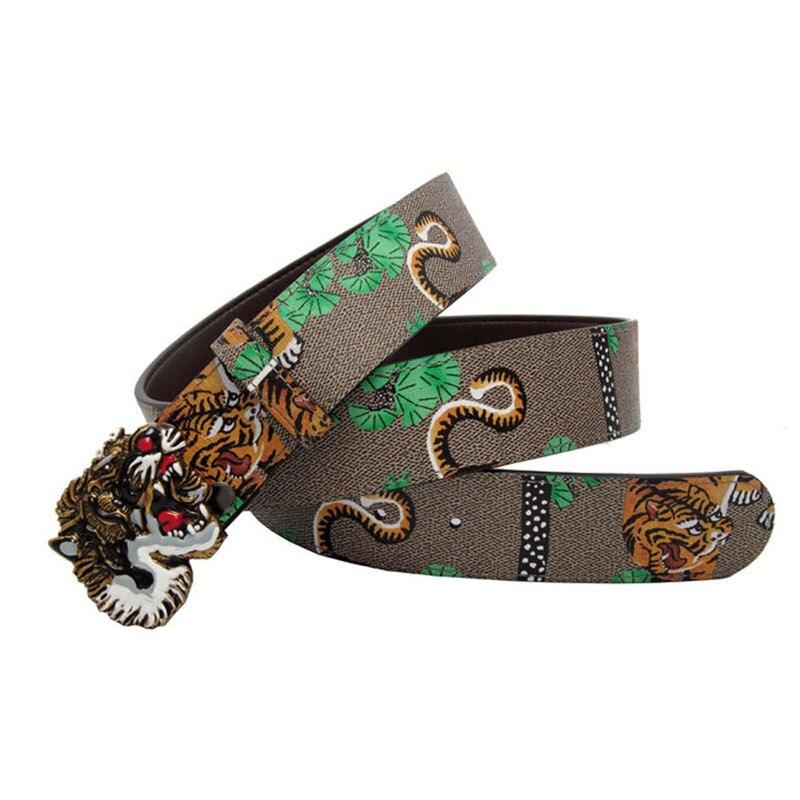 Western Men Tiger Print Tiger Head Design Buckle Leather Belt Gift With Jeans