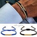 2016 Anil Arjandas Moda Luxo 18kt Banhado A Ouro Beads Macrame Pulseira Micro embutimento zircão Acessórios Dos Homens & Das Mulheres Novo Estilo