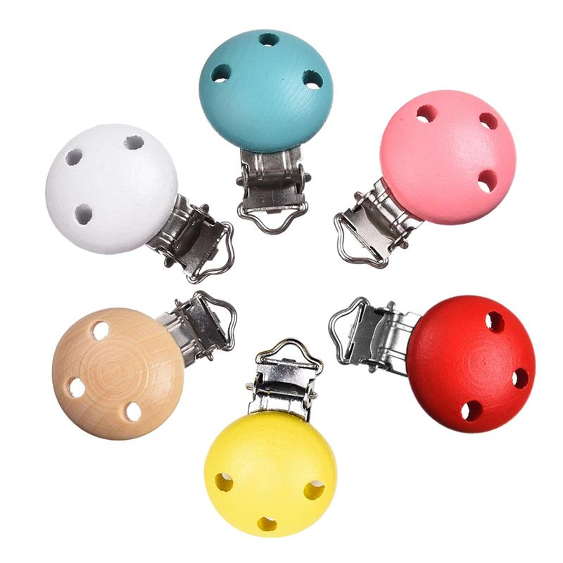 Hot 5pcs / lot White Cute Metal Trä Baby Pacifier Clips Infant Soother Clasps Hållare Tillbehör