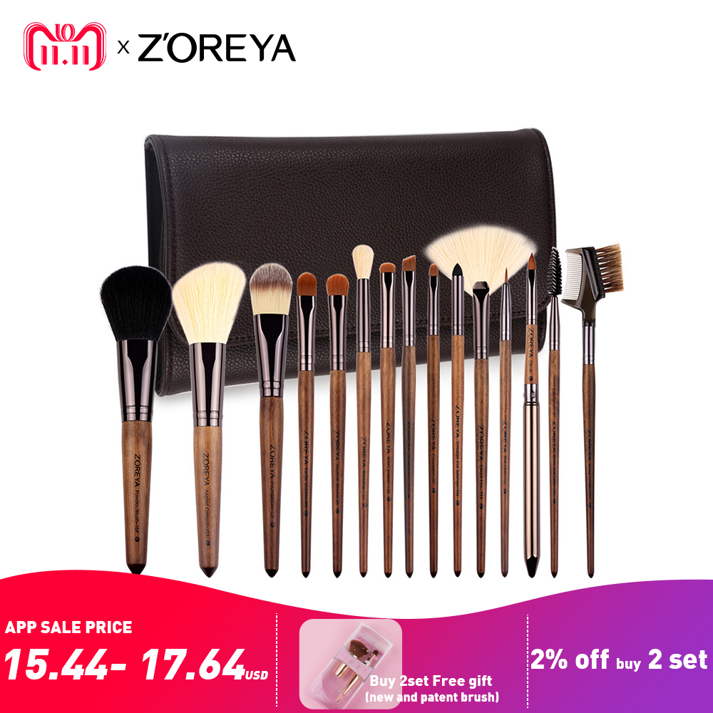 все цены на ZOREYA Brand Make Up Brushes 15pcs Professional Cosmetics brush With PU Bag As Makeup Tool For Beauty Essential Brush Set