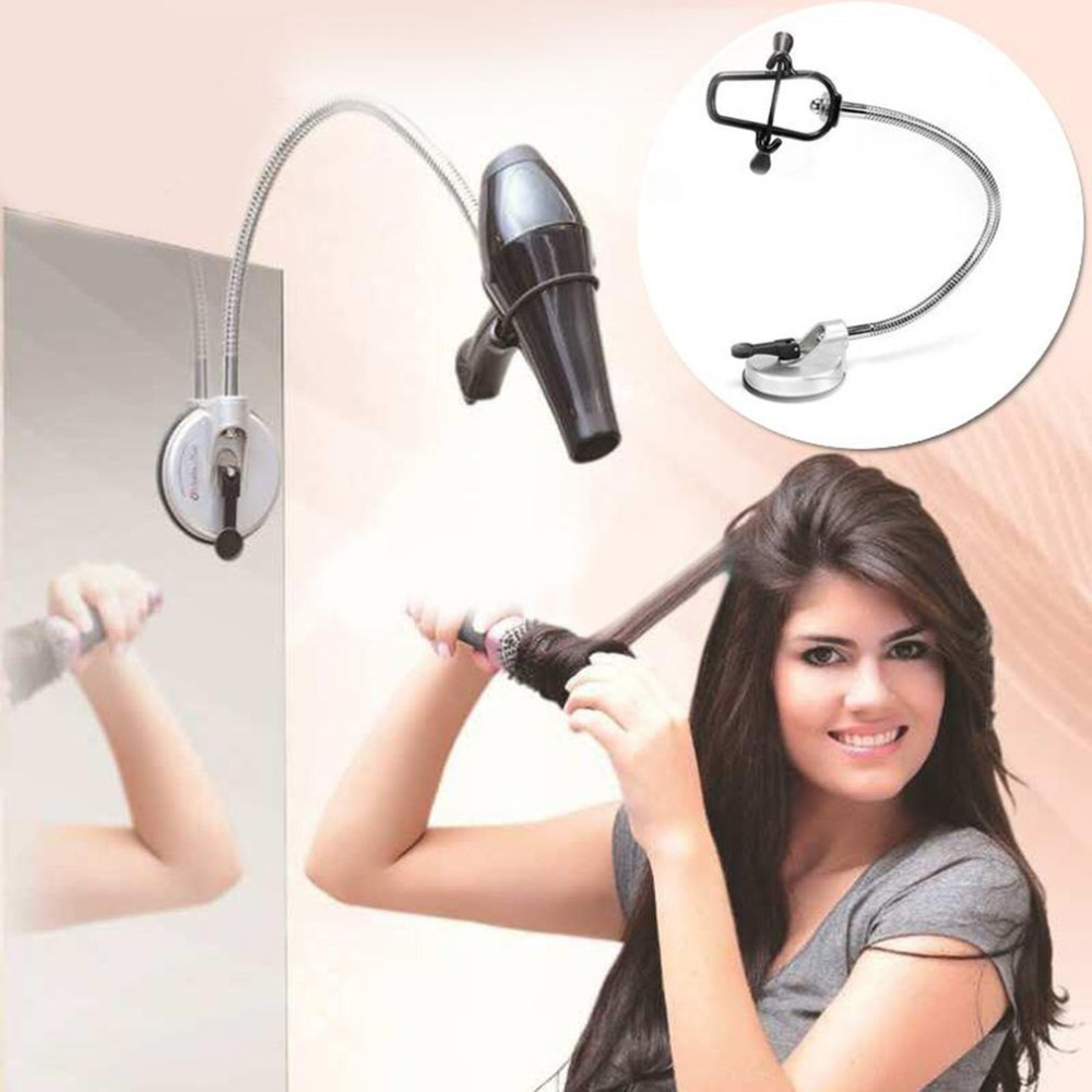 Hair Dryer Holder Hands Free 360 Degrees Rotation Hairdryer Organizing Holder Stand Rack Suction Cup Pet Grooming lazy Bracket 360 degree rotation car suction cup stand holder mount bracket for gps cell phone black red