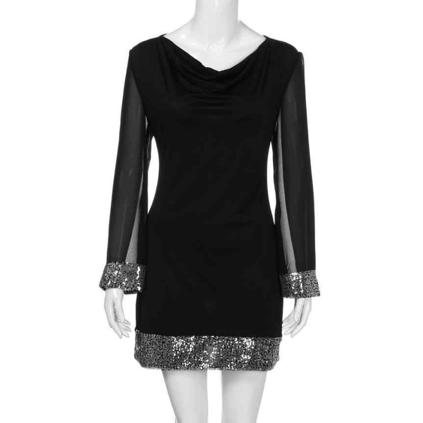 KANCOOLD yeni high kalite moda V Yaka Payetli Uzun Kollu Dikiş Mini Elbise rahat elbise kadın mar13