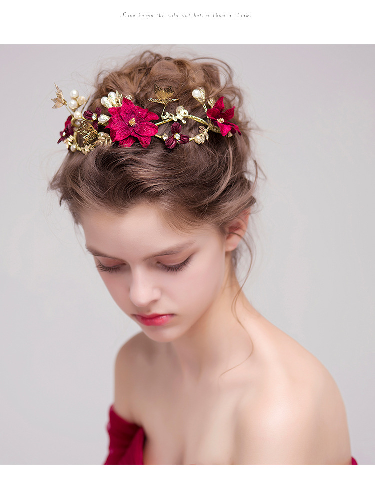 Accesorios para el cabello de la boda nupcial Gold Butterfly Hairband Tiara Crown Red Rose Flower Pearls Pieza para el cabello Joyas para mujeres Diadema