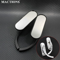Mini Oval Mirrors Black/Chrome For Harley Cruiser Chopper 8mm&10mm For Motorcycle Cruiser Chopper Bobber 8MM 10MM
