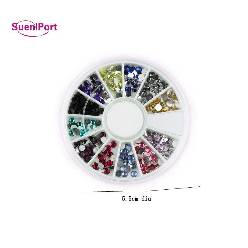 SunelPort ใหม่ 2019 12 สี/ชุด 3D ตกแต่งเล็บอัญมณีเล็บหินเล็บเคล็ดลับศิลปะสติกเกอร์ Dispaly เครื่องมือสำหรับเล็บเจล