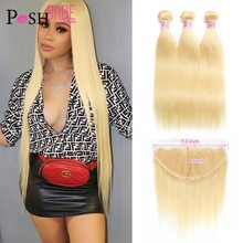 Brazilian Unprocessed Virgin Remy Straight 613 Honey Blonde Colored Weave Human Hair 2 3 4 Bundle with/and Lace Closure Frontal(China)