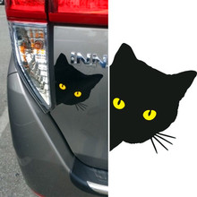 Купить с кэшбэком YOURART Funny Car Sticker Cat in 3D Reflective Eyes Accessories Car Styling Sticker Vinyl Stickers for Car Cat Eye Automobiles