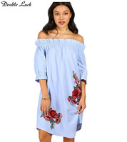 Double Luck Women Slash Neck Strapless Summer Sexy Half Sleeve Loose Dress Blue Embroidery Floral Femme